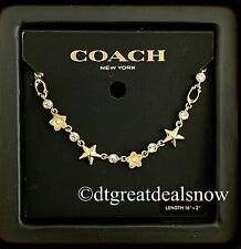 NWT Coach Floral Star Necklace Gold F76483 With Gift Box $178