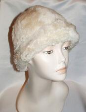 NEW!White Vintage Retro Round Sheepskin Shearling Fur Hat Real KATZ Leather warm