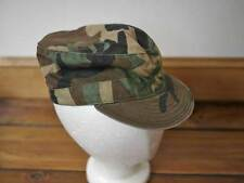 Vintage US Army Military Issue Woodland Camo Cotton Hat Field Cap 6 7/8