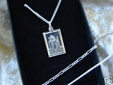 RECTANGULAR SILVER NECKLACE PENDANT ST CHRISTOPHER BOYS CHAIN CHARM BOX 925