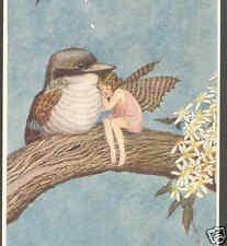 """RESERVED FOR SALLY"".  OUTHWAITE..SLEEPY FAIRY CUDDLES KOOKABARRA BIRD,POSTCARD"