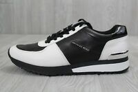26 New Women's Michael Kors White Black Leather Allie Trainer Sneakers Shoes 9.5