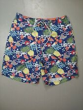 Vintage Nautica Swim Trunks Shorts Lined Sz Small Underwater Fish Print all over
