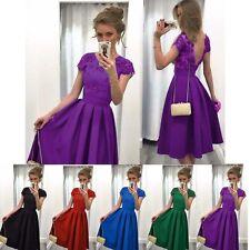 Lady Fashion Summer Short Sleeve Back Deep V Lace Stitching Evening Party Dress