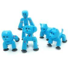 5PCS BLUE Zing Stikbot ROBOT ANIMATION Pet Cat/Dog/Bulldog/Monkey Figures