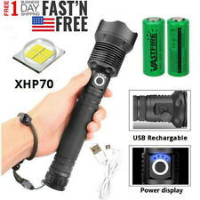 Zoom Focus 90000 Lumens XHP70 LED USB Rechargeable Flashlight Torch Super Bright