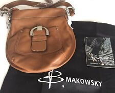 B. Makowsky Westbourne Convertible Crossbody Bag Pebble Leather Rich Brown Purse