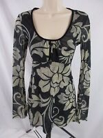 Sweet Pea Stacy Frati Juniors M Black Floral Tie Back Empire Blouse Shirt CB30M