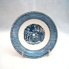"""Royal USA CURRIER & IVES BLUE """"Old Farm Gate"""" Fruit Bowl(s) 5 1/2"""" x 1 1/4"""" EXC"""