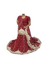 Om Vintage Indian Wedding Net Hand Beaded Maroon Lehenga,Blouse,Dupatta LP47