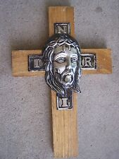 NEW Mexican Cross Crucifix Jesus Face on Wood - Mexico