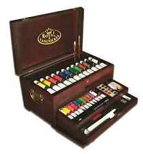 80 PIECE PREMIER ARTIST WATERCOLOUR OIL ACRYLIC PAINTING WOODEN CHEST ART-8000