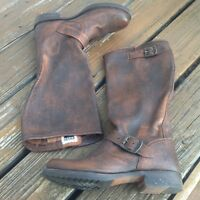 Frye Veronica Tall Slouch Buckle Leather Boots Brown Moto Biker Shoes Sz 8.5 9