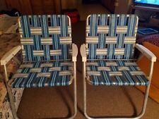 Vintage Lawn Chairs Blue Webbed Camping Patio Aluminum White Plastic Arms