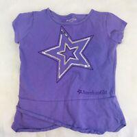 American Girl Girls Short Sleeve TShirt Purple Sequin Star Size 10-12 match Doll
