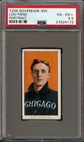 Rare 1909-11 T206 Lou Fiene Portrait Sovereign 350 Chicago PSA 4.5 VG - EX +