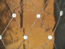 Fabric Decorator Taffeta with Matching Trim Brown/Turquoise 1 1/4 yrds  #164