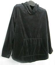 Sunday brand velvet hoodie L black kangaroo pocket long sleeve poly pullover