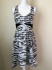 Women's Zebra Animal Print High Low Dress Halter Neck - Size Small