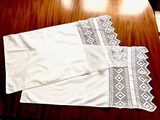 More details for vintage hand crochet long edged white cotton pillow cases