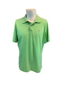 Peter Millar Polo Golf Shirt L Men Green Cotton Purple Logo Peru YGI J1-214