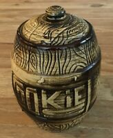 Monmouth Pottery Western Stoneware USA Wood Grain BARREL Cookie Jar - Vtg 1950s