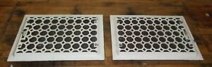 2 MATCHING Antique Cast Iron Floor Vent Grate Register with Louvers 14 X 10