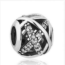 New European Silver CZ Charm Beads Fit sterling 925 Necklace Bracelet Chain Aq1c