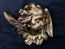"Vintage Plaster Chalkware Gold Wall Hanging Cherubs Angel 13"" x 10"" 6 Lb"