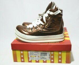 JEFFREY CAMPBELL Size 6.5 Womens Leather Glitzy Brown Croco Fashion Sneaker Shoe