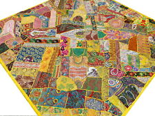 Patchwork Quilt Queen Indian Bed cover Handmade Yellow Bedspread Vintage India