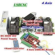 4 Axis USBCNC Nema23 112mm 425oz-in Dual Shaft CNC Stepper Motor Controller Kit