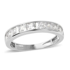 LUSTRO STELLA 925 Sterling Silver Rhodium Over White Cubic Zirconia CZ Band Ring