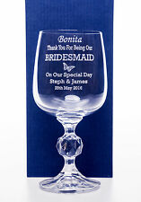 Engraved WEDDING BUTTERFLY Claudia Wine Glass Gift For Bridesmaid/Maid of Honour