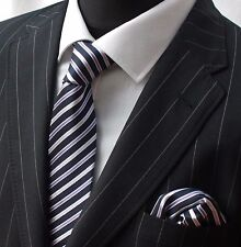 Tie Neck tie with Handkerchief Navy Blue Purple Mauve & White Stripe