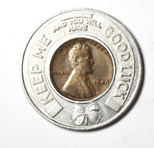 1948 1c Wheat Cent Encased Penny KC Safety Council Member I Practice Good Luck