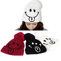 HN- Women's Warm Baggy Crochet Knitting Smile Hat Beret Ski Beanie Ball Cap Hat
