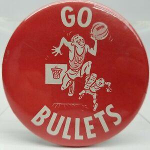 Go Bullets Vintage Pin Button Badge Baltimore Bob Quick Basketball