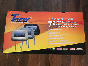 "TView 7"" TFT color monitor headreast set of 2 gray T726PL-GR Read Description"