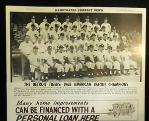 1968 ICN 12x19 Display Poster Detroit Tigers AL CHAMPS RARE Lolich Kaline Cash