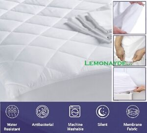 100% WATERPROOF QUILTED MATTRESS PROTECTOR XTRA Deep Fitted Sheet Cover NO NOISE