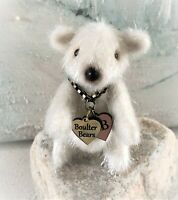 "2 1/2"" White Faux Fur Little Teddy Bear OOAK jointed Artist one off Design"