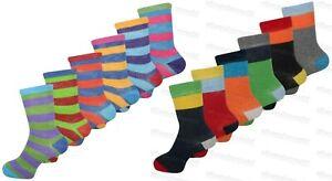 6 Pairs Childrens Boys Girls Socks Coloured Funky Designs Smart Kids Fashion