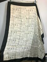 Saks Scarf Square Black White Spell Out Large Vintage