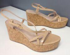 a54c3c2b22a KATE SPADE Nude Patent Leather Glitter Cork Wedge Platform Sandals Sz 9  B4551