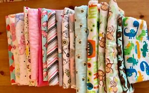 Baby Flannel Fabric Lot 8 Yards +100% Cotton PLUS Two Simplicity Baby Patterns