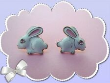 Easter Bunny Stud Earrings with Pink Crystal and extra set of backs