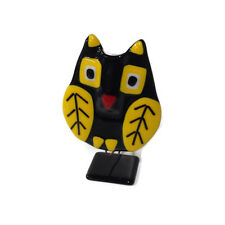 Glass Fire Large Fused Glass Bobbling Owl Vase Sculpture - Black & Yellow