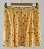 Sportsgirl Womens Size 10 Casual Yellow Floral Button Front Summer Mini Skirt