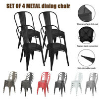 Set of 4 Dining Side Chair Stackable Bistro Cafe Metal Stool Vintage Metal Seat